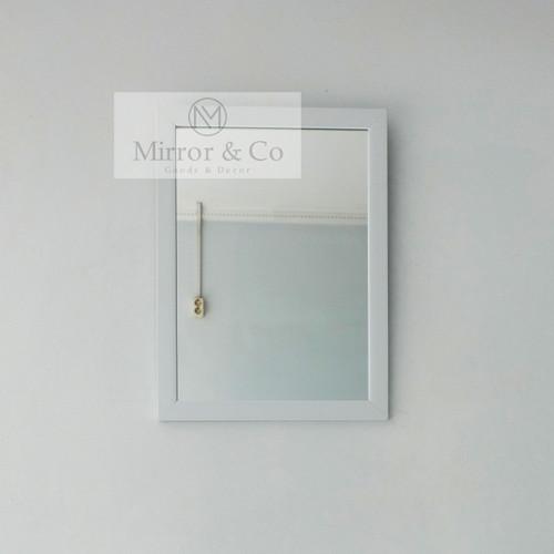 Foto Produk CERMIN GANTUNG CERMIN DINDING Uk 45x35 MINIMALIS PUTIH / HITAM /COKLAT - Putih dari Mirror & Co