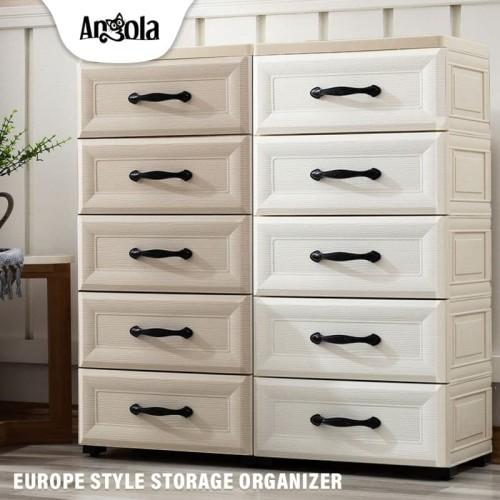Foto Produk Angola Lemari Plastik C04 Laci/Drawer Cabinet Susun Penyimpanan Eropa - CREAM dari Angola Official Store