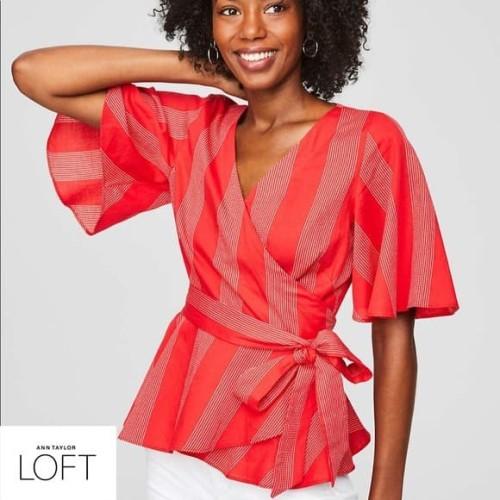 Foto Produk Blouse Wanita - LOFT Petites Red Kimono Style Original - XS dari kenso collection
