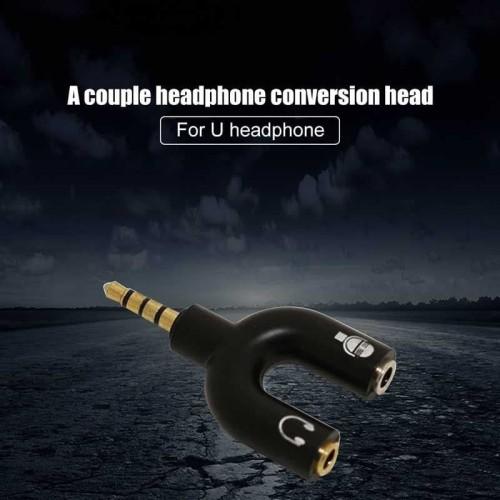 Foto Produk Overfly Splitter Audio Shape U 3.5mm ke Headphone & Mic - K0650 dari Belanja Puas