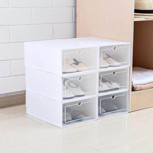 Foto Produk Kotak DIY Plastik Multifungsi Sepatu Pakaian Stackable Isi 3 pcs - White White dari Brandystore