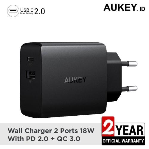 Foto Produk Aukey Charger 2 Ports 18W PD 2.0 & QC 3.0 - 500335 dari AUKEY