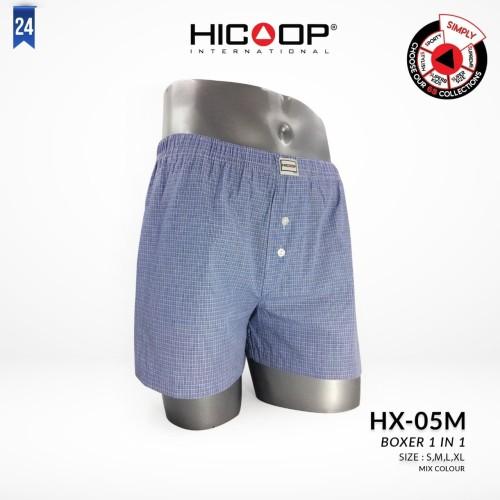 Foto Produk HICOOP MEN UNDERWEAR BOXER KOTAK-KOTAK 1 PIECE HX-05M - BIRU - L dari Hicoop