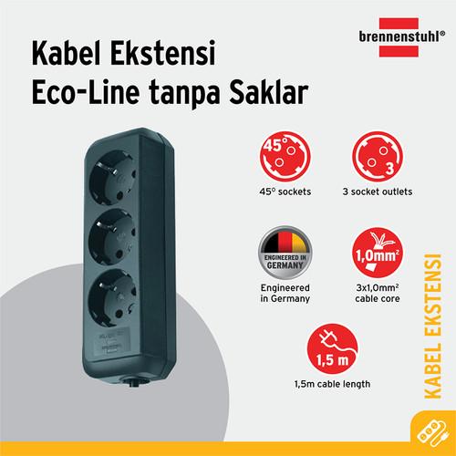 Foto Produk Brennenstuhl Eco-Line Stop Kontak 3-socket hitam 1.5m - 9123020008 dari Brennenstuhl Indonesia