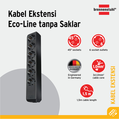 Foto Produk Brennenstuhl Eco-Line Stop Kontak 6-soket Hitam 1.5m - 9123020010 dari Brennenstuhl Indonesia
