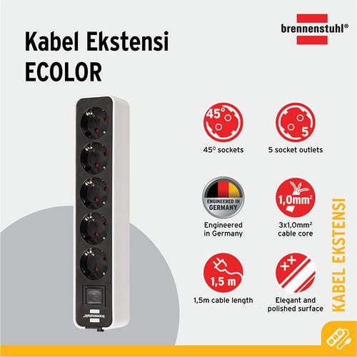 Foto Produk Stop Kontak Brennenstuhl Ecolor 5-Soket Putih/Hitam dengan Switch dari Brennenstuhl Indonesia
