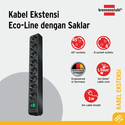 Foto Produk Brennenstuhl Eco-Line Stop Kontak dengan Switch 8-Soket Hitam 3m dari Brennenstuhl Indonesia