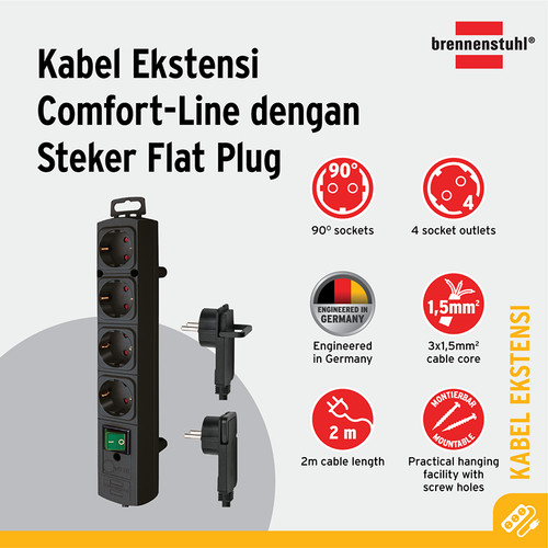 Foto Produk Comfort Line Plus Extension Flat Plug Brennenstuhl 4 Socket+Switch(2m) dari Brennenstuhl Indonesia