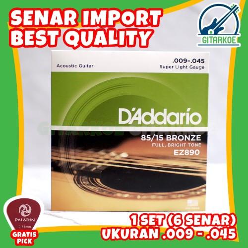 Foto Produk Senar Gitar DAddario String Akustik .009-0.45 85/15 BRONZE EZ890 dari gitarkoe