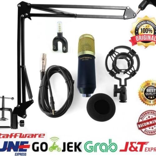 Foto Produk Paket Mic BM 800 arm stand mic boom scissor with splitter - Gold dari Istana Glodok