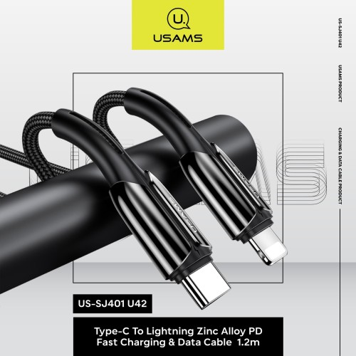 Foto Produk USAMS Type-C To Lighting PD Fast Charging Zinc Allow 1,2M US-SJ401 dari MENU Official Store