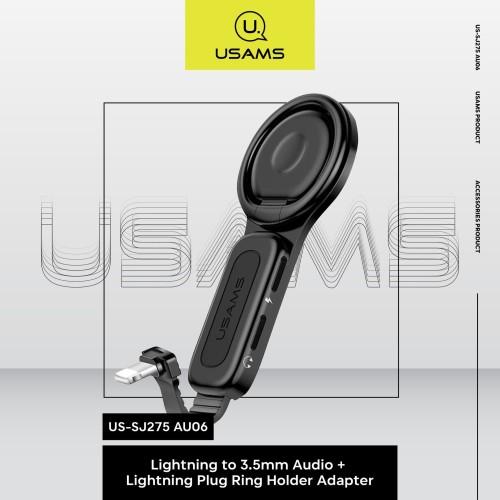 Foto Produk USAMS US-SJ275 Lightning to 3.5MM Ring Holder Adapter + Audio Jack dari MENU Official Store