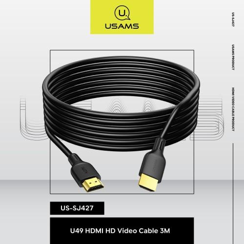 Foto Produk USAMS Kabel HDMI To HDMI 4K HD Video 3M U49 SJ427 dari MENU Official Store