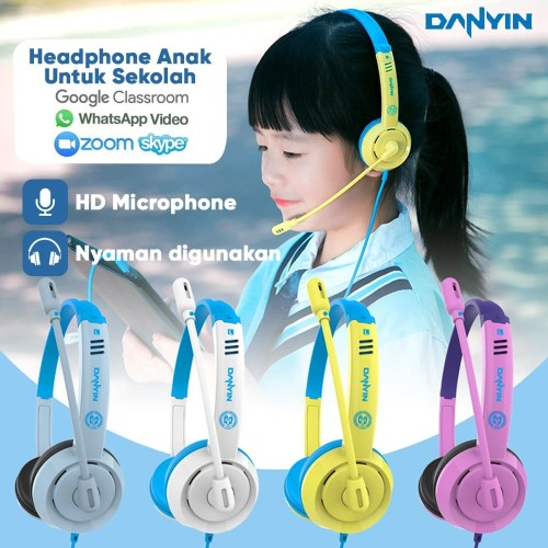 Foto Produk Headset Earphone Headphone Bando Danyin DT-326 Headset Anak Colorful - Blue Yellow dari Unitech Official