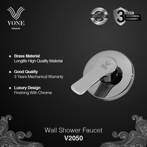 Foto Produk VONE PREMIUM V2050 Stop Kran Wall Shower Mandi Tanam Brass Chrome dari Vone Sanitary Indonesia