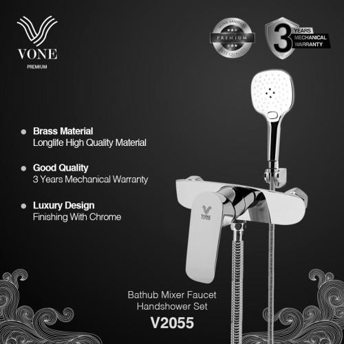 Foto Produk VONE PREMIUM V2055 Keran Kran Shower Mixer Panas Dingin Brass Chrome dari Vone Sanitary Indonesia