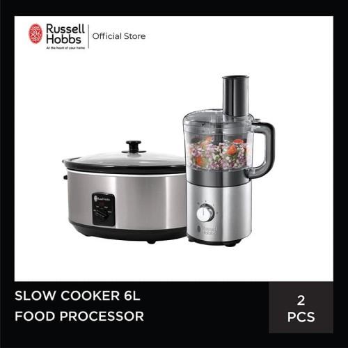 Foto Produk Bundling Russell Hobbs Compact Food Processor - Slow Cooker 6L dari Russell Hobbs Indonesia