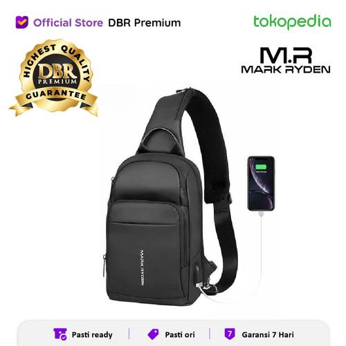 Foto Produk TAS SELEMPANG PRIA SLINGBAG MARK RYDEN MR7618 100% ORIGINAL USB PORT - Hitam dari DBR Premium
