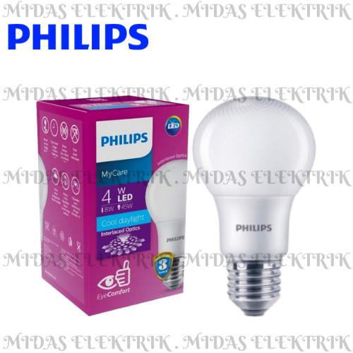 Foto Produk Lampu LED Bulb Philips MyCare 4 Watt W E27 Putih Cool Daylight 6500K dari Midas Elektrik