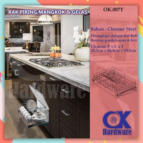 Foto Produk Rak Piring Mangkok Tarik OK 007 T for Kitchen Set Cabinet 90 cm dari WINSTON SUKSES ABADI