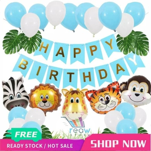 Foto Produk Paket Dekorasi Hiasan Balon Ulang Tahun / Happy Birthday Animal Zoo 01 - Biru Muda dari Reaw Store