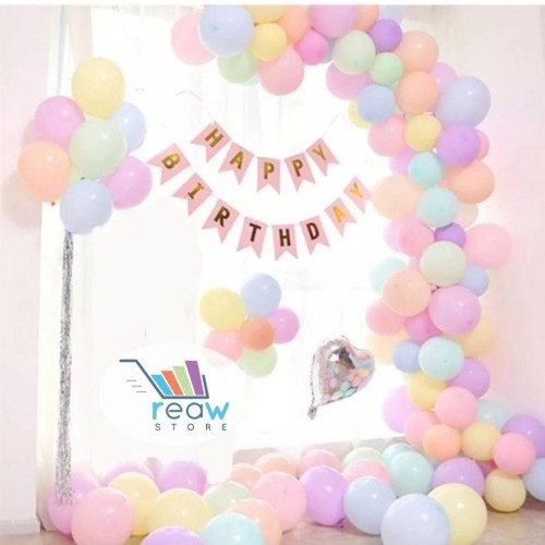 Foto Produk Paket Dekorasi Balon Ulang Tahun / Happy Birthday Tema Pastel 01 dari Reaw Store