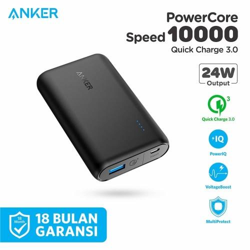 Foto Produk PowerBank Anker PowerCore Speed 10000 Quick Charge 3.0 Black - A1266 dari Anker Indonesia