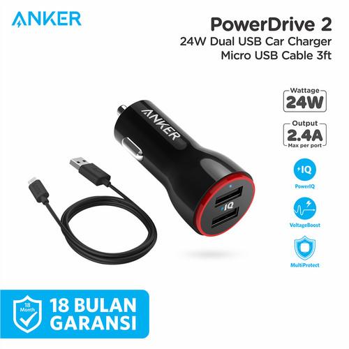 Foto Produk Charger Mobil Anker PowerDrive 2 & 3ft/0.9m Micro USB Black - B2310 - Hitam dari Anker Indonesia