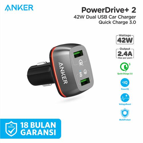 Foto Produk Charger Mobil Anker PowerDrive+ 2 Quick Charge 3.0 Black - A2224 - Hitam dari Anker Indonesia