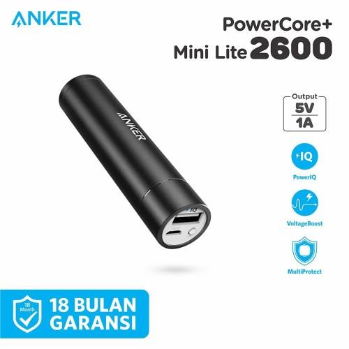 Foto Produk PowerBank Anker PowerCore+ Mini Lite 2600 mAh Black - A1110 dari Anker Indonesia