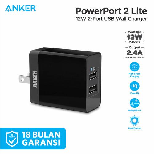 Foto Produk Wall Charger Anker PowerPort 2 Lite Black - A2129 - Hitam dari Anker Indonesia
