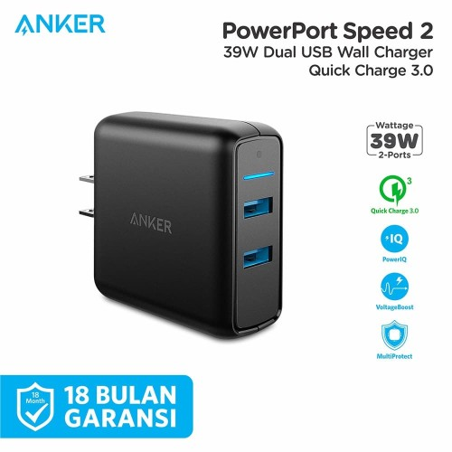 Foto Produk Wall Charger Anker PowerPort Speed 2 Quick Charge 3.0 Black - A2025 dari Anker Indonesia