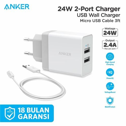 Foto Produk Wall Charger Anker PowerPort 2 & 3ft/0.9m Micro USB White - B2021 dari Anker Indonesia
