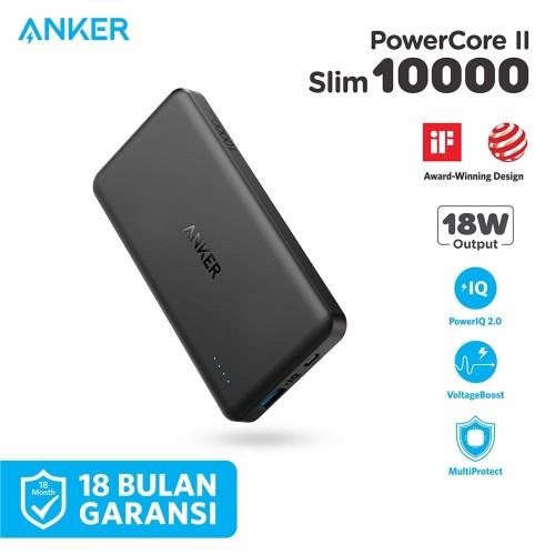 Foto Produk PowerBank Anker PowerCore II Slim 10000 mAh Black - A1261 dari Anker Indonesia