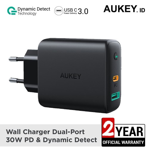 Foto Produk Aukey Charger Dual-Port 30W PD with Dynamic Detect - 500392 dari AUKEY
