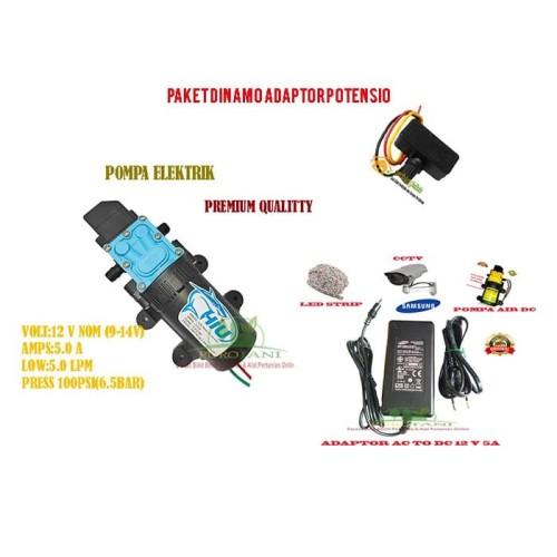Foto Produk Paket Pompa air dinamo dc adaptor potensio dari Purotani.ID