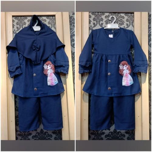 Foto Produk Baju Anak Perempuan Usia 2-3 Tahun ZAHRA SET KIDS Setelan Anak Muslim - mocca dari TOF Bandung