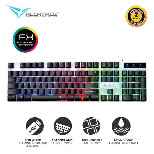Foto Produk Alcatroz Gaming Keyboard XKB-100 Spill Proof with 9 Backlight Effect - XKB-100 dari Alcatroz Official Store