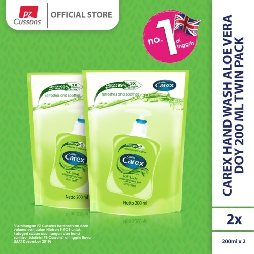 Foto Produk Carex Hand Wash Aloe Vera DOY 200 ml Twin Pack dari Cussons Official Store