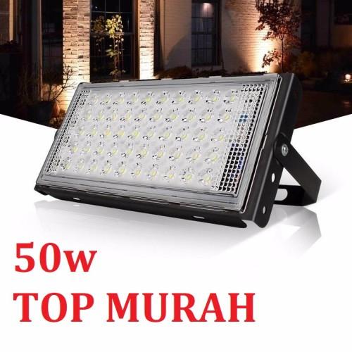 Foto Produk LAMPU SOROT/TEMBAK LED SLIM 50 WATT/50W RGB LED FLOODLIGHT 50WATT 220V - 50W PUTIH dari tokoelectrical