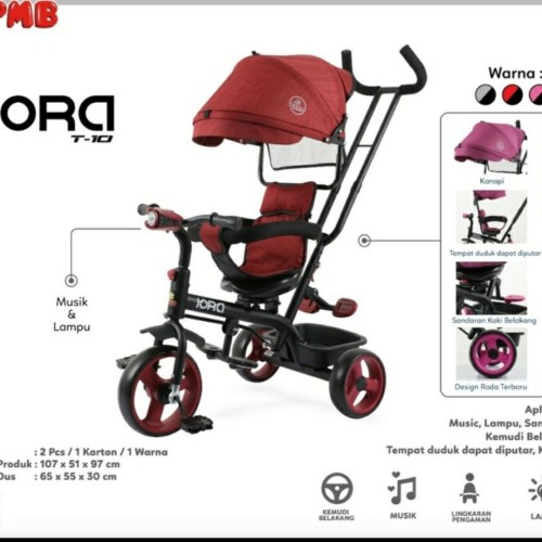 Foto Produk Sepeda anak roda tiga stoller PMB Iora T-10 - Merah Muda dari SHINING Shop31