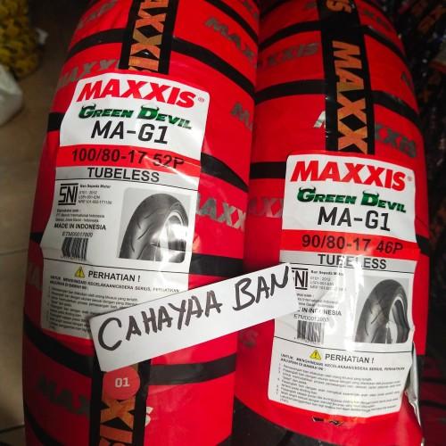 Foto Produk BAN LUAR MOTOR MAXXIS MAG1 SEPASANG DPN BLK 90/80 & 100/80-17 TUBLES dari cahayaa ban