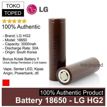 Foto Produk Authentic Battery 18650 LG HG2 3000mAh | original batere batre baterai dari deKloud