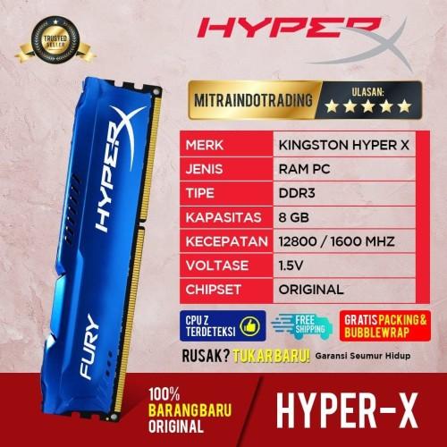 Foto Produk RAM KINGSTON HYPER X FURY GAMING LONGDIMM DDR3 8GB PC 12800 dari Mitraindotrading