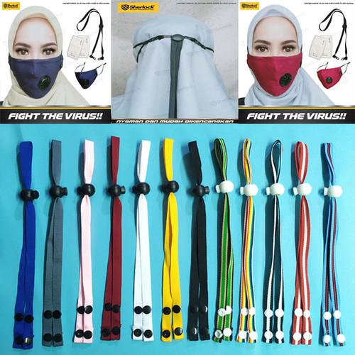 Foto Produk Tali Hijab / Tali Pengait Kepala / headloop Aksesoris Masker Motor - Biru dari Gold-Mart