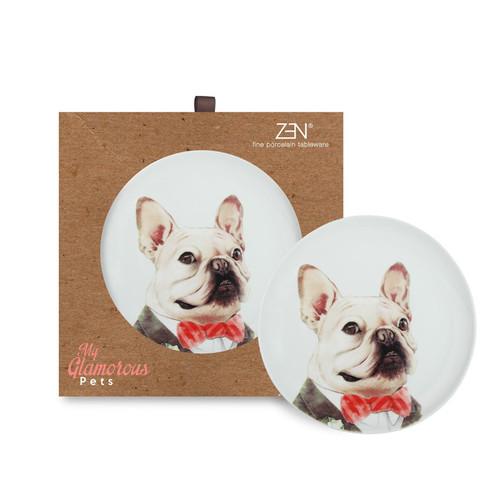 Foto Produk ZEN Piring Keramik My Glamorous Pet New Collection [2 PCS + Gift Box] - Formal Bulldog dari ZEN Porcelain Tableware