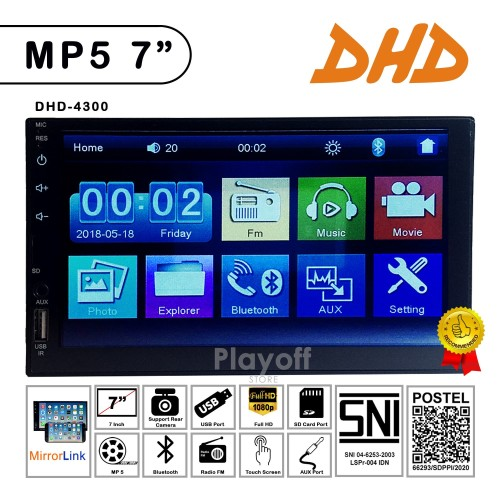 Foto Produk DHD-4300 MP5 - TV Mobil Head Unit Double din Universal + Mirror Link dari Playoff Store