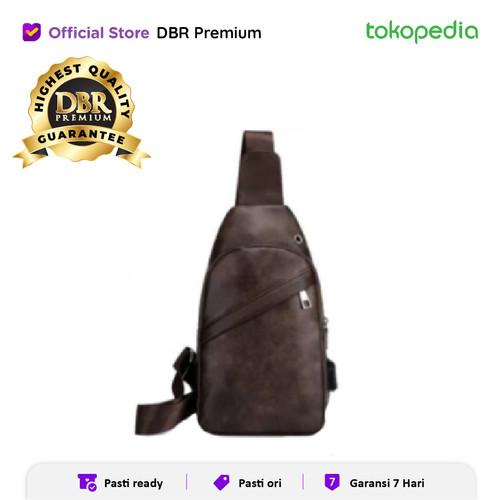 Foto Produk TAS SELEMPANG PRIA SLINGBAG 8148 USB PORT TAS PU LEATHER MURAH - Coklat Tua dari DBR Premium
