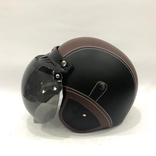 Foto Produk Helm Retro Kulit GTR Black Caramel + Kaca dari GudangHelm