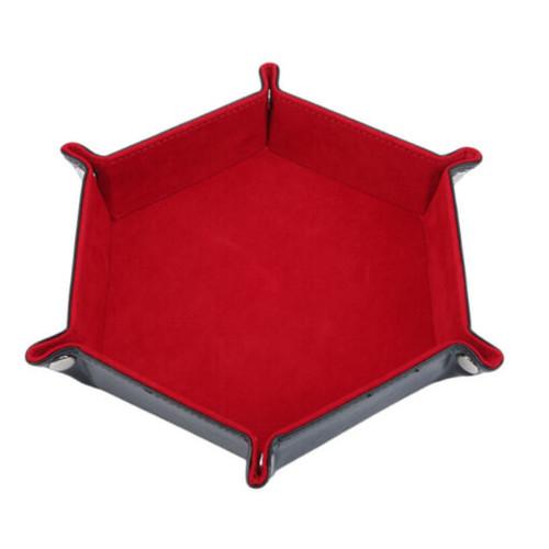 Foto Produk Hexagon Dice Tray for RPG DND Table - Merah Hitam dari Toko Board Game